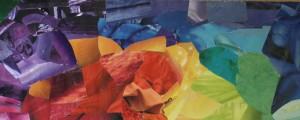 Papiercollage Regenbogenfarben