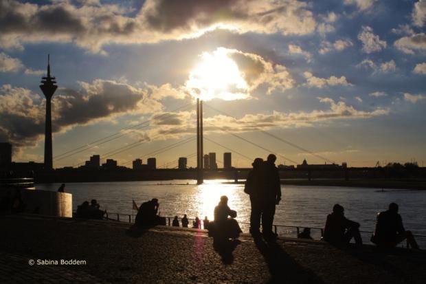 Düsseldorf - Altstadt, Sonnenuntergang
