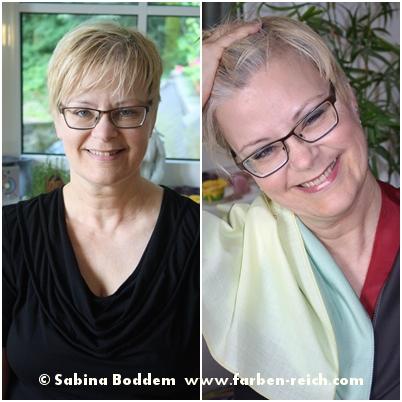 Sommertyp links mit unvorteilhaftem Schwarz und zu gelbstichigem Blond, rechts mit typgerechten Farben und dem viel vorteihafteren ,weißen Naturhaaransatz