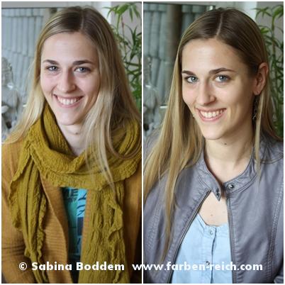 Sommertyp links mit unvorteilhaften Farben und rechts mit typgerechten Farben, Farbenreich - Sabina Boddem, Farbberatung