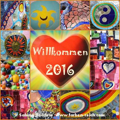 Frohes neues Jahr 2016, Neujahrsgrüße, Neujahrswünsche, Farbenreich, Sabina Boddem