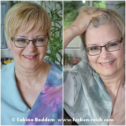 Sommertyp links mit unvorteilhaft gelbblond gefärbtem Haar, rechts mit dem natürlichen, vorteilhaft weißen Haaransatz